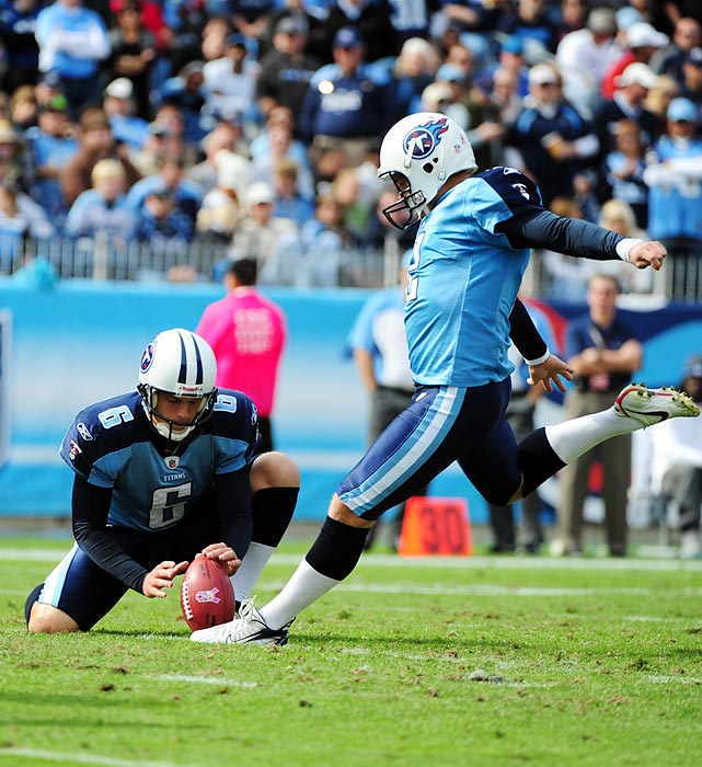 The Titans' kicker set an NFL-record by making a field goal of 40 yards or more in 10 consecutive games, a streak that is still active heading into 2012. Bironas broke the previous record of eight games -- held by Morten Anderson and Jeff Wilkins -- by drilling a 51-yarder in the first quarter against the Jaguars on Dec. 24.