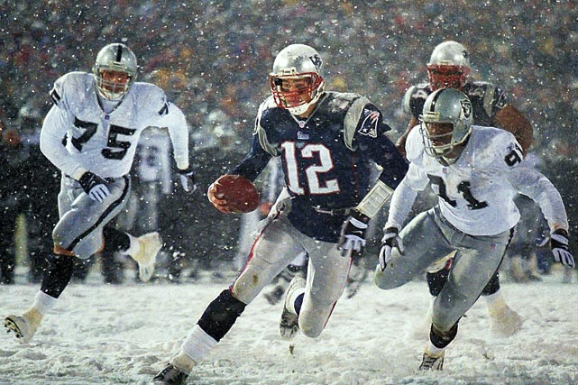 Brady beats the Oakland defense to the end zone to make it 13-10 in the fourth quarter. The Raiders were up 13-3 heading into the fourth but couldn't ice the game.