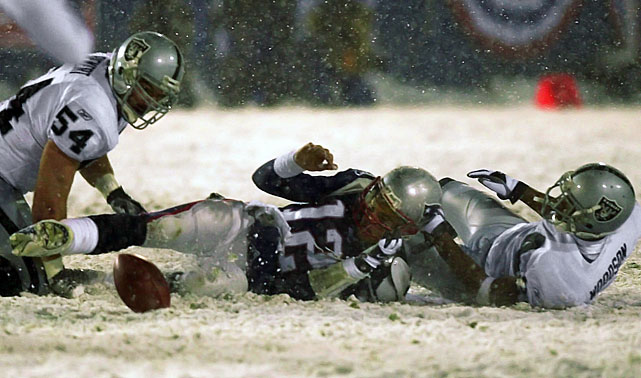 Linebacker Greg Biekert appeared to seal the game for the Raiders -- who were up 13-10 with less than two minutes to go -- when he pounced on Brady's fumble. But Coleman invoked the little-known Tuck Rule during a booth review, declaring the play an incomplete pass because Brady's arm had been moving forward. That gave the ball back to New England, which got a dramatic, 45-yard field goal from kicker Adam Vinatieri to force overtime.