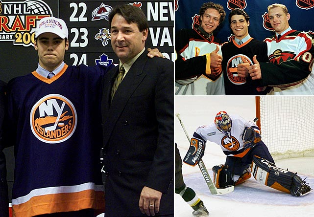 "Rick DiPietro was the first goaltender ever drafted No. 1 overall by an NHL team. Chosen by the New York Islanders in 2000 ahead of such future stars as Dany Heatley (No. 2, Atlanta), Marian Gaborik (3, Minnesota), Scott Hartnell (6, Nashville), and Ilya Bryzgalov (44, Anaheim), the historic pick was the brainchild of Isles general manager Mike Milbury, who surely earned his moniker ""Mad Mike"" by trading highly touted young goalie Roberto Luongo (bottom right), the team's first pick (fourth overall) in 1997, who had shown promise during his first season in New York. The arrival of the cocky, swashbuckling, stickhandling, injury-prone netminder who came to be known as ""Rickety DiPietro"" started one of the most painful and frustrating sagas in NHL history."