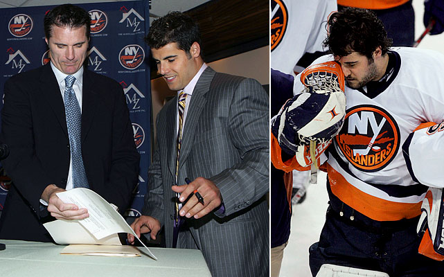 "On Sept. 12, 2006, DiPietro is signed to a mind-boggling, record 15-year, $67.5 million contract that, given his subsequent injury history, should appear in the dictionary under ""albatross."" GM Garth Snow's famous last words: ""It's a great deal for the team because we get a flexible (cap) number that we can work with and add players as we need, it's a great deal for Ricky because he has term, and the big bonus is for our fans because they get to see a player that everyone loves for many more years to come.""  DiPietro has another fine campaign, finishing sixth in the NHL in save pct. (.919) with a career-best shutout streak of 156:30 en route to becoming the first Islander goalie to have two 30-win seasons. On March 13, 2007, he is concussed in a collision with Montreal's Steve Begin, and lingering symptoms cause him to miss the final seven games of the regular season, but the offensively anemic Isles make the playoffs...only to fall to Buffalo in the first round, four games to one. League-wide, opinion of DiPietro remains high. ""Ricky has so much confidence that there's no fear of failure,"" an Eastern Conference goalies coach tells SI's Michael Farber. ""He's special."""