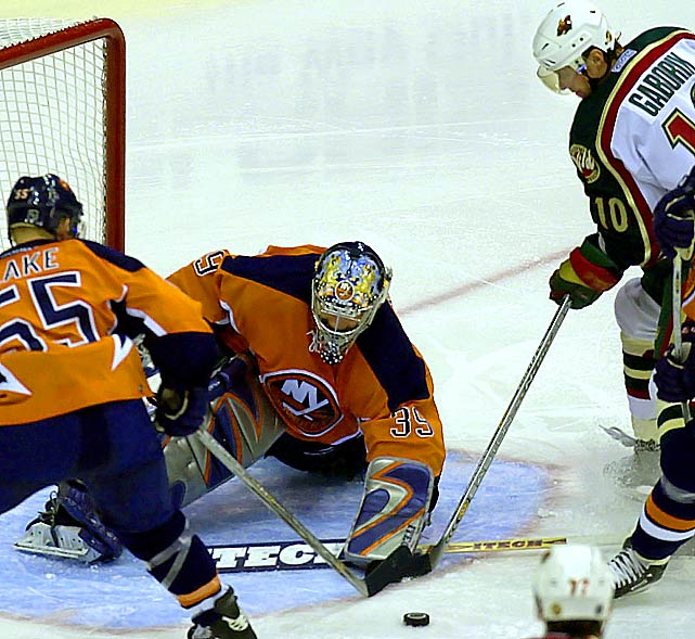 DiPietro is recalled from AHL Bridgeport, where he was an All-Star, and on Dec. 20 beats the Minnesota Wild 4-2 for his first NHL win since March 20, 2001. Behind Chris Osgood and Garth Snow on the depth chart, he finishes the season 2-5-2 with a 2.97 goals-against average and .894 save pct. in 10 appearances. The Islanders make the playoffs, but fall in five games to Ottawa in the first round. DiPietro makes his postseason debut in relief, making three saves and allowing no goals in 15 minutes of action in Game Two.
