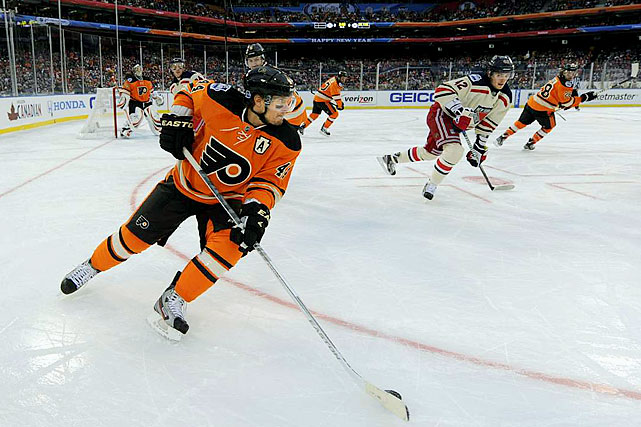 The Flyers dominated in the early going, outshooting the Rangers by a wide marging and taking a 2-0 lead.