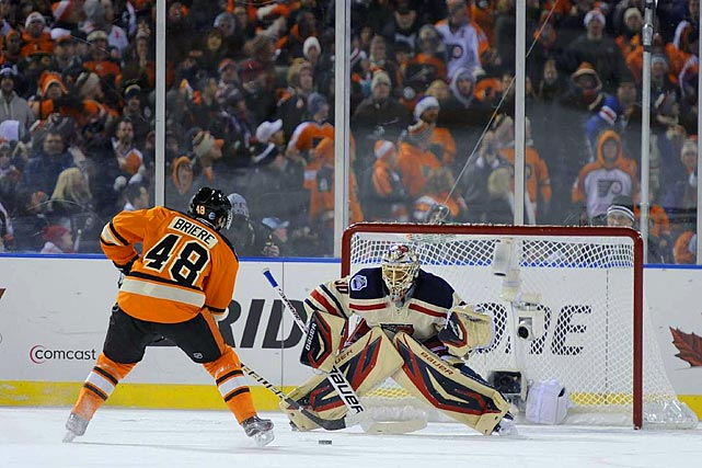 Flyers center Danny Briere was stopped by Henrik Lundqvist on this penalty shot with 19 seconds left as New York won for the third time this season against Philadelphia.