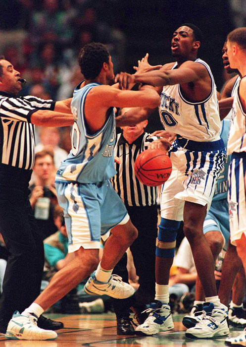 A foul by Kentucky's Andre Riddick incited a maelstrom between the two teams later that season. Riddick's foul was followed by a Wallace elbow, which was followed by a Riddick attempt to choke Wallace, which was followed by both taking the bench.