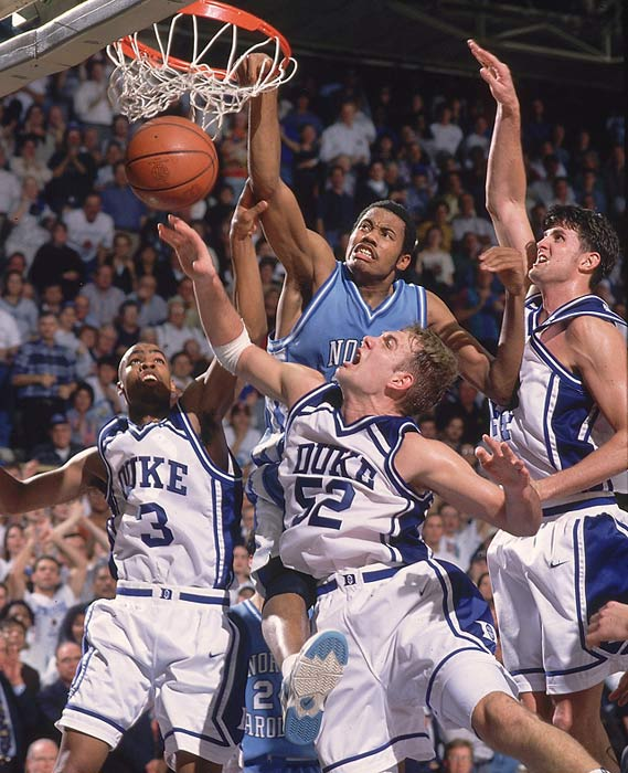 Wallace and the Tar Heels upended Duke at Cameron Indoor on Feb. 2, 1995 in what was arguably one of the greatest games in the history of their rivalry. UNC edged the Blue Devils 102-100 in double-overtime (the 202 total points are still the most ever scored in a Duke-UNC game). A dunking exhibition by Jerry Stackhouse and Wallace in the first half helped the Tar Heels take a 17-point lead, but Duke rallied before falling short in the second overtime.
