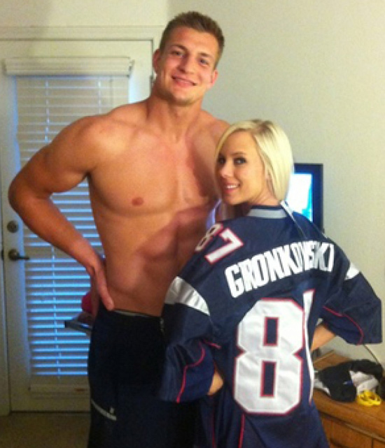 While some players use the bye week to relax and let their bodies heal, Gronkowski used his to spend time with Bibi Jones. The adult film star tweeted out this photo of her and the shirtless Patriots tight end in late October 2011.