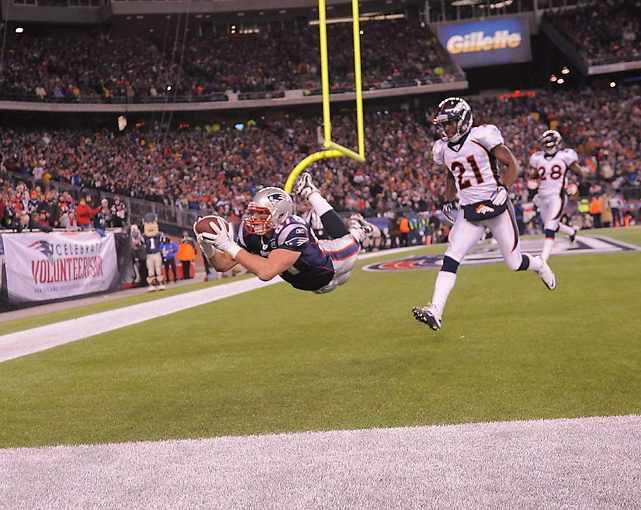 Gronkowski was at his best on Jan. 15, 2011, catching 10 balls for 145 yards and a record-tying three touchdowns as the Patriots blew out the Broncos, 45-10, in the divisional round of the playoffs.