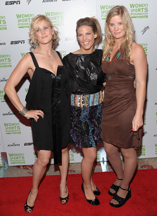 Burke (left) arrives at an ESPY pre-party with snowboarders Torah Bright and Jamie Anderson in July 2007.