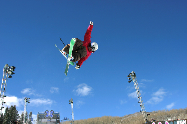 Burke practices for the Ski Superpipe event while at Winter X Games 10.
