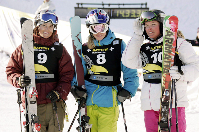 Burke (left) celebrates after winning the Women's Halfpipe event at the Freestyle World Ski Championships in Kuusamo, Finland.
