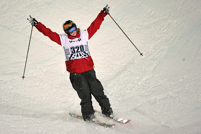 Burke celebrates after completing a run in the Women's Ski Superpipe Final at Winter X Games 13.