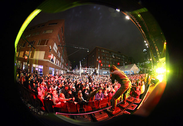 Fuel performes at the Super Bowl Village main stage late Tuesday night.