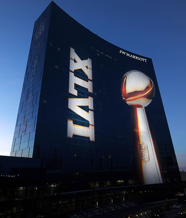 The JW Marriott downtown is aglow with Super Bowl spirit.