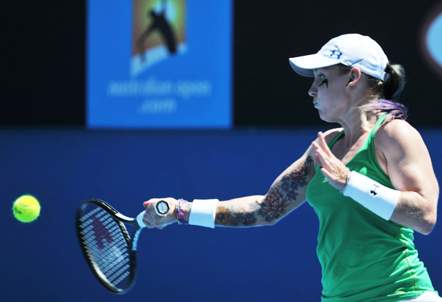 Mattek-Sands showed off a little ink in her first-round match against Agnieszka Radwanska. But despite firing 81 winners, the American seemed to run out of steam after a grueling first set and lost to the No. 8 seed 6-7 (10), 6-4, 6-2.