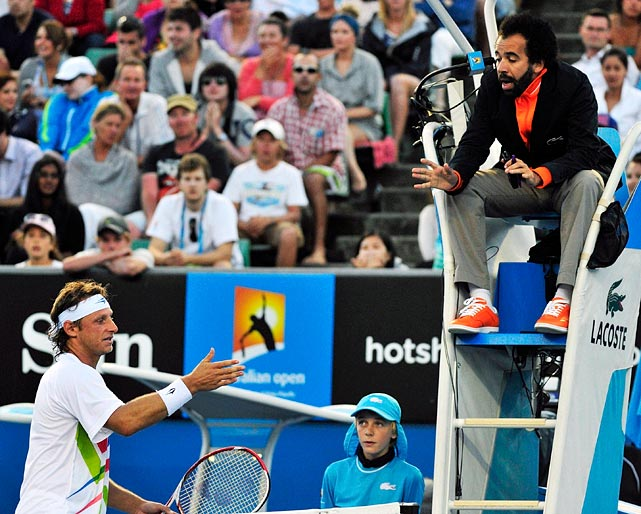 The Argentine veteran got upset after chair umpire Kader Nouni would not allow him to challenge an incorrect overrule during a key moment of a second-round match against John Isner. Nalbandian called Nouni ''stupid'' after his five-set loss and later was fined $8,000 for throwing water at a staff member. He is appealing the fine.