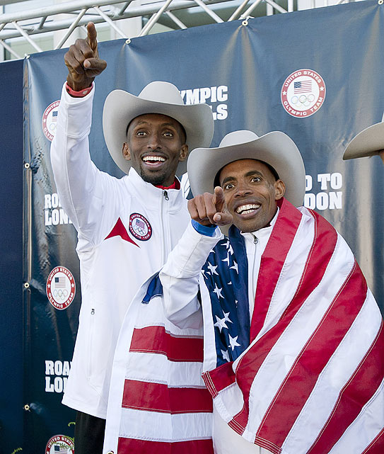 Abdi Abdirahman (left) and Meb Keflezighi celebrate in true Texas style after both qualified for the Olympic Games.