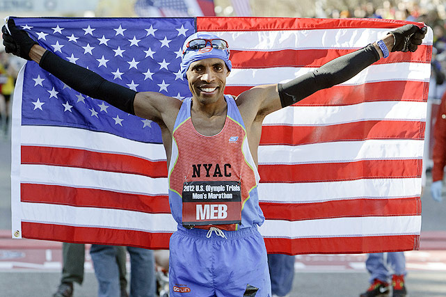Meb Keflezighi celebrates after finishing first in the U.S. men's Olympic marathon trial. The victory qualified Keflezighi for his third Games.