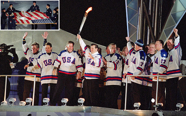 The poignant ceremony was held at the University of Utah's Rice-Eccles Stadium on Feb. 8, 2002, five months after Sept. 11. The two most memorable scenes of the night were drastically different in volume. First, the American flag flown at Ground Zero was brought out amid pin-drop silence. The crowd erupted later when Mike Eruzione and the 1980 U.S. Olympic hockey team emerged to light the cauldron.