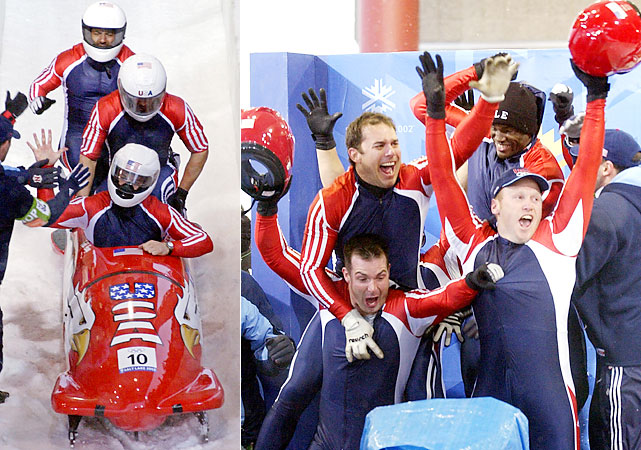 Todd Hays (left) and Brian Shimer (far right) piloted four-man teams to the first U.S. men's bobsled medals since the 1956 Cortina d'Ampezzo Games. Hays and USA-1 took silver, and Shimer and USA-2 got bronze. Shimer was brought to tears, and for good reason. He was a 16-year veteran of sledding, competing with Herschel Walker in 1992 and missing bronze by two hundredths of a second in 1998.