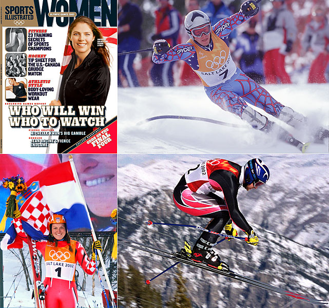 American speed queen Picabo Street bid farewell to the Winter Olympics with a 16th in the downhill. New stars would replace her. Bode Miller (top right) won his first Olympic medals, silvers in the combined and the giant slalom, in his go-for-broke style. Croatian sensation Janica Kostelic (bottom left) dominated the technical events, winning three golds and a silver. Meanwhile, veteran Norwegian Kjetil Andre Aamodt (bottom right) bounced back from a medal-less 1998 Games with his sixth and seventh Olympic medals, gold in the combined and super-G. Also notable was 17-year-old Lindsey Kildow, later known as Lindsey Vonn, finishing sixth in the combined.
