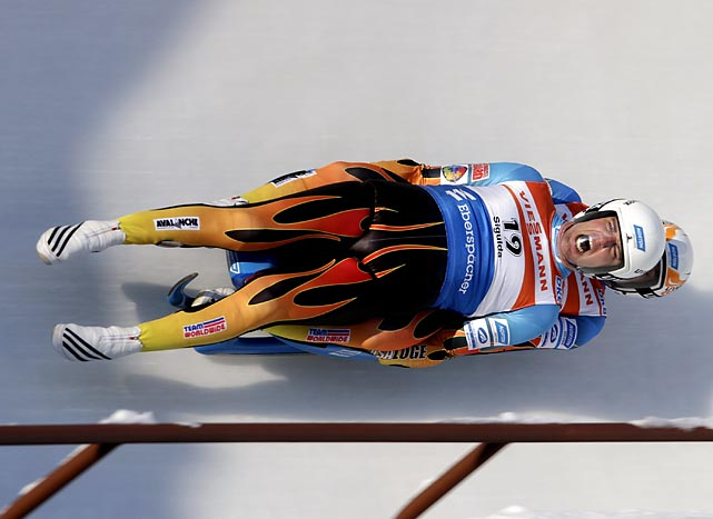 Americans Christian Niccum and Jayson Terdiman race at the Luge World Cup Doubles competition in Sigulda, Latvia.