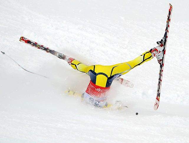Norwegian skier Lotte Smiseth Sejersted crashes during a Women's Downhill World Cup event in Sochi, Russia.