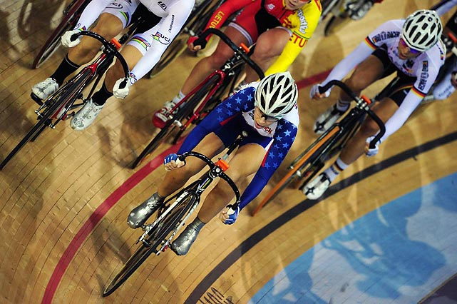 Cyclists compete in an Olympic Test event at the Track Cycling World Cup in London.
