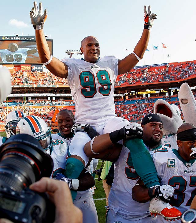 A six-time Pro Bowl defender, Taylor played the final game of his 15-year career on Jan. 1. The longtime Dolphin and 2006 Defensive Player of the Year finished his career sixth all-time with 139.5 sacks.