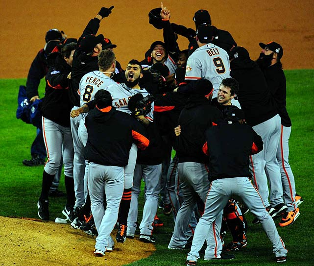 The San Francisco Giants may be under the radar, unappreciated and unexpected. But they're unassailable, the winner of two World Series titles in the last three years. Their sweep of the Detroit Tigers, completed Sunday night with a 4-3, 10-inning win, was simply historic.  No National League team had swept a World Series since the 1990 Cincinnati Reds. No NL team had won twice in a three-year span since the Big Red Machine in 1975-76.  Pablo Sandoval, nicknamed Kung Fu Panda, was benched for most of the 2010 Series and then went 8 for 16 this year, including a three-homer performance in Game 1, to win MVP honors.