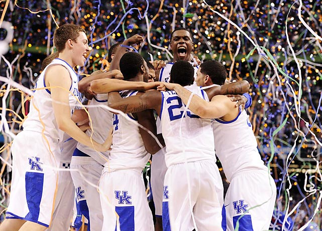 Entering the season with a roster beset by youth, Kentucky finished it as a champion. The Wildcats defeated Kansas, 67-59, to claim the program's eighth NCAA title and first since 1998. It was a total team effort. Doron Lamb, a sophomore guard, scored a game-high 22 points. Freshman Michael-Kidd Gilchrist added 11 points and six rebounds, and sophomore Terrence Jones contributed nine points and seven boards. Freshman sensation Anthony Davis also did his part: The projected No. 1 pick in the NBA draft collected six points, 16 rebounds, six blocks, five assists and three steals en route to earning Most Outstanding Player honors. The triumph marks the first career championship for third-year Kentucky coach John Calipari.