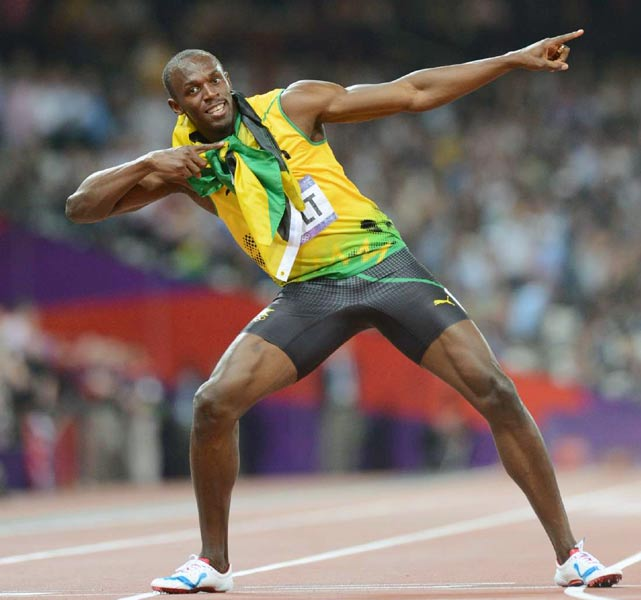 After winning the 200-meter final in enough time to ease up the last few strides (19.32 seconds), Usain Bolt became the first person in history to win a gold medal in the 100m and 200m in back-to-back Olympics. Earlier in the London Games, Bolt won the 100 with a time of 9.63, the second-fastest time in history, behind only his own record of 9.58.