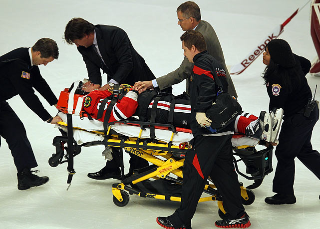 The Stanley Cup playoffs were barely a week old by the time the league had handed out nine suspensions in the wake of a series of dangerous illegal hits, stickwork and out-of-control brawls. On April 17, Blackhawks winger Marian Hossa left the ice on a stretcher and was hospitalized after being leveled by a headshot from Coyotes winger Raffi Torres, who jumped to drive his shoulder into Hossa's head. Torres was suspended indefinitely and faced a disciplinary hearing.