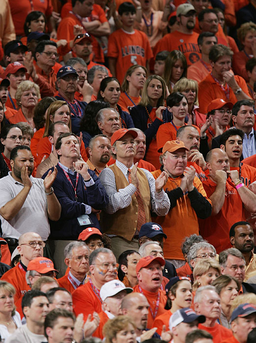 Murray celebrates during the final seconds of Illinois's 2005 Final Four win over Louisville. Murray didn't actually attend Illinois, which dropped the 2005 NCAA final to North Carolina.