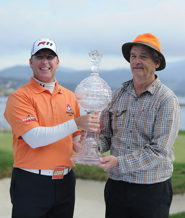 A true Cinderella story: Murray and playing partner D.A. Points hold their trophy after winning the 2011 AT&T Pebble Beach National Pro-Am.