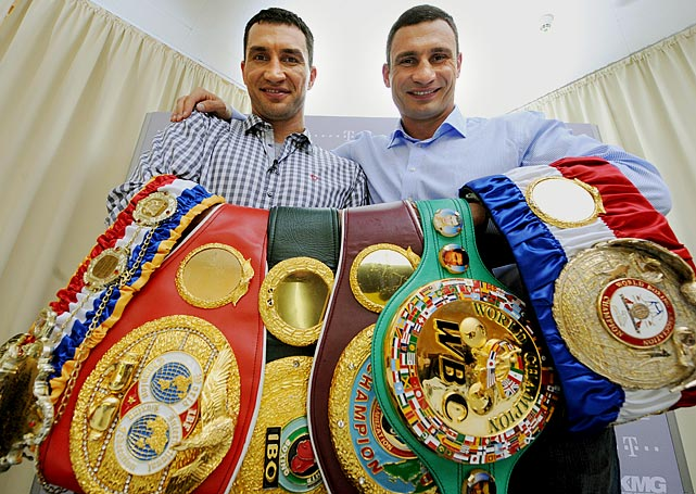 Wladimir Klitschko  (left): WBO Heavyweight, 10/00-3/03, 2/08-present IBF & IBO Heavyweight, 4/06-present WBA Heavyweight, 7/11-present   Vitali Klitschko  (right): WBO Heavyweight, 6/99-4/00 WBC Heavyweight, 4/04-11/05, 10/08-present
