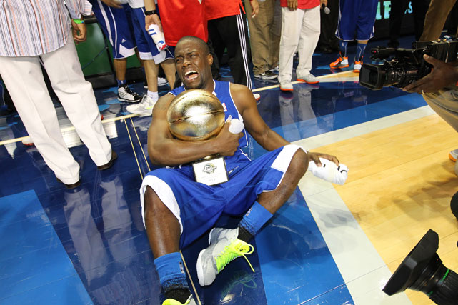 As the NBA's stars made their way to Orlando for the league's 2012 All-Star festivities, so did celebrities. Among them was comedian Kevin Hart, who was named MVP of the celebrity game on Friday after his East team beat the West, 86-54. Hart joined an elite club with Justin Bieber, Michael Rapaport and Terrell Owens, as the game's MVP.  Here's a look at some of the other A-listers at All-Star weekend.