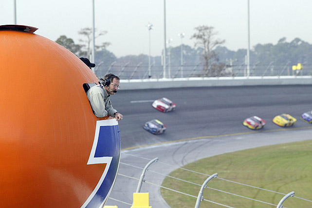 A spotter stands in a post above the track during Friday practice prior at the 2003 Daytona 500.