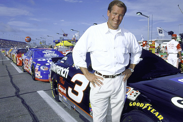 NBC Nightly News  anchor Brian Williams, a big NASCAR fan, stands next to Dale Earnhardt's No. 3 car before the 1999 race.
