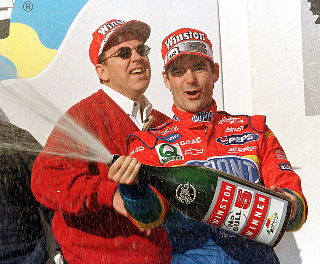 Jeff Gordon sprays champagne in Victory Lane after winning the 1999 Daytona 500. Gordon has won the race three times.