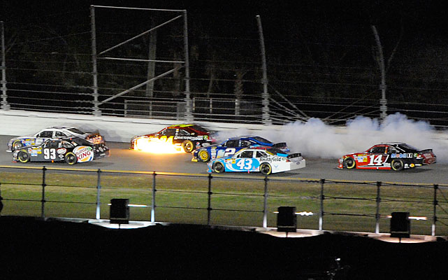 Three-time Daytona 500 winner Jeff Gordon (No. 24) blew his engine on lap 81, ending his night.