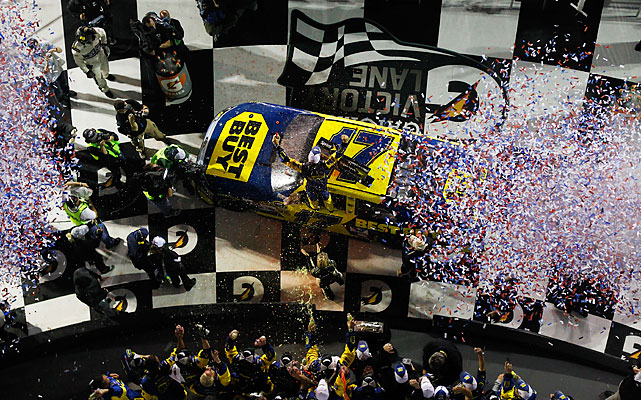 Kenseth rolled into Victory Lane at about 1 a.m., beating out Dale Earnhardt Jr. and teammate Greg Biffle. Patrick finished 38th.