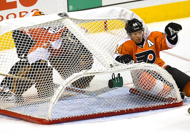 Always innovative, the Flyers found a new way to defend their goal from marauding Maple Leafs during an exciting hockey game at Wells Fargo Center in Philadelphia. The strategy paid off. The Flyers won, 4-3.