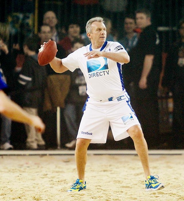 The Pro Football Hall of Famer still looks like he could effing throw the ball and catch the ball at the same time. Here he is in action at the Beach Bowl at Victory Field in Indianapolis