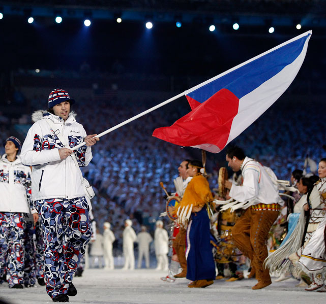 Jagr carries the Czech Republic flag during the opening ceremony for the 2010 Winter Olympics in Vancouver. Jagr and the Czech team did not medal at the Vancouver games.