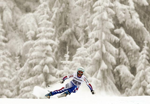 Marie Marchand-Arvier during a practice run at a World Cup downhill event in Garmisch-Partenkirchen, Germany.