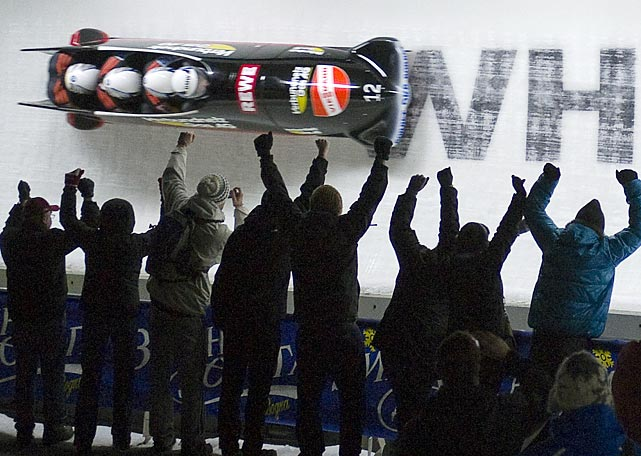A German team rockets down the track at a Bobsled World Cup event in Whistler, Canada.