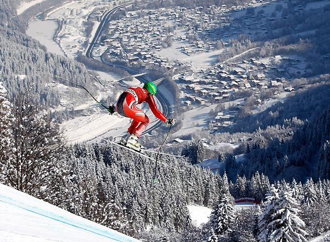 Polish skier Michal Klusak competes in a World Cup Super Combination event in Chamonix, France.
