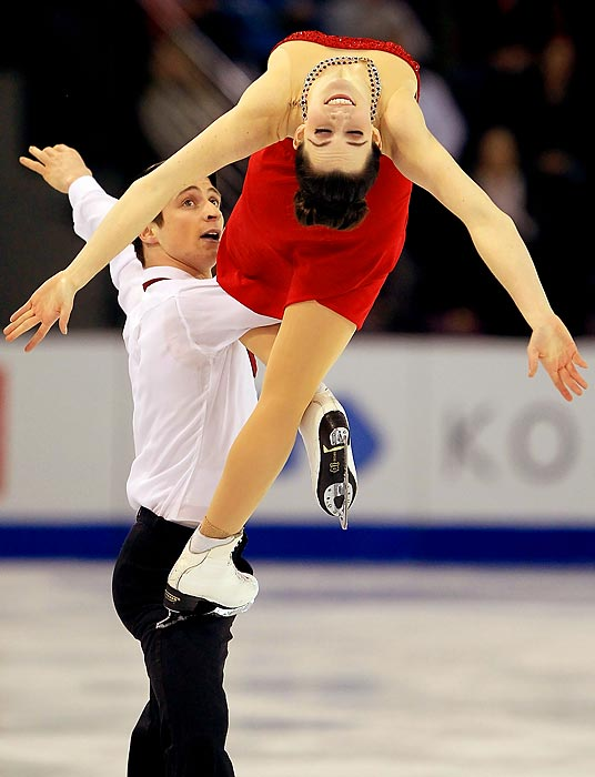 Canadian figure skaters Scott Moir and Tessa Virtue compete in the Free Dance during the Four Continents Figure Skating Championships in Colorado Springs.