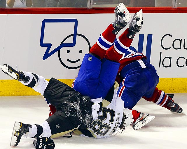 Pittsburgh's Kris Letang upends Montreal's P.K. Subban.